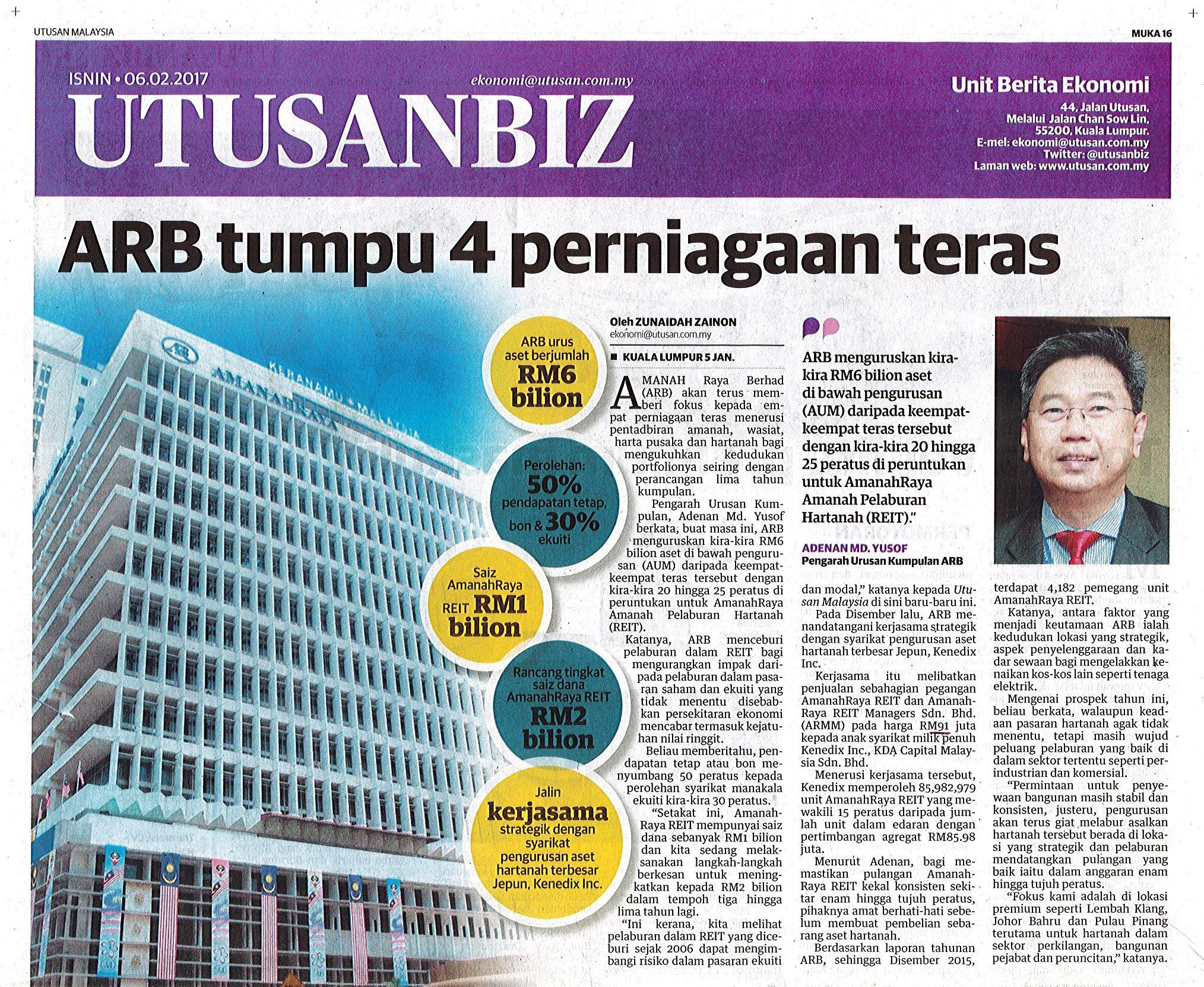 Amanah Raya Berhad (ARB) akan terus memberi fokus kepada empat perniagaan teras menerusi pentadbiran amanah, wasiat, harta pusaka dan hartanah bagi mengukuhkan kedudukan portfolionya seiring dengan perancangan lima tahun kumpulan.