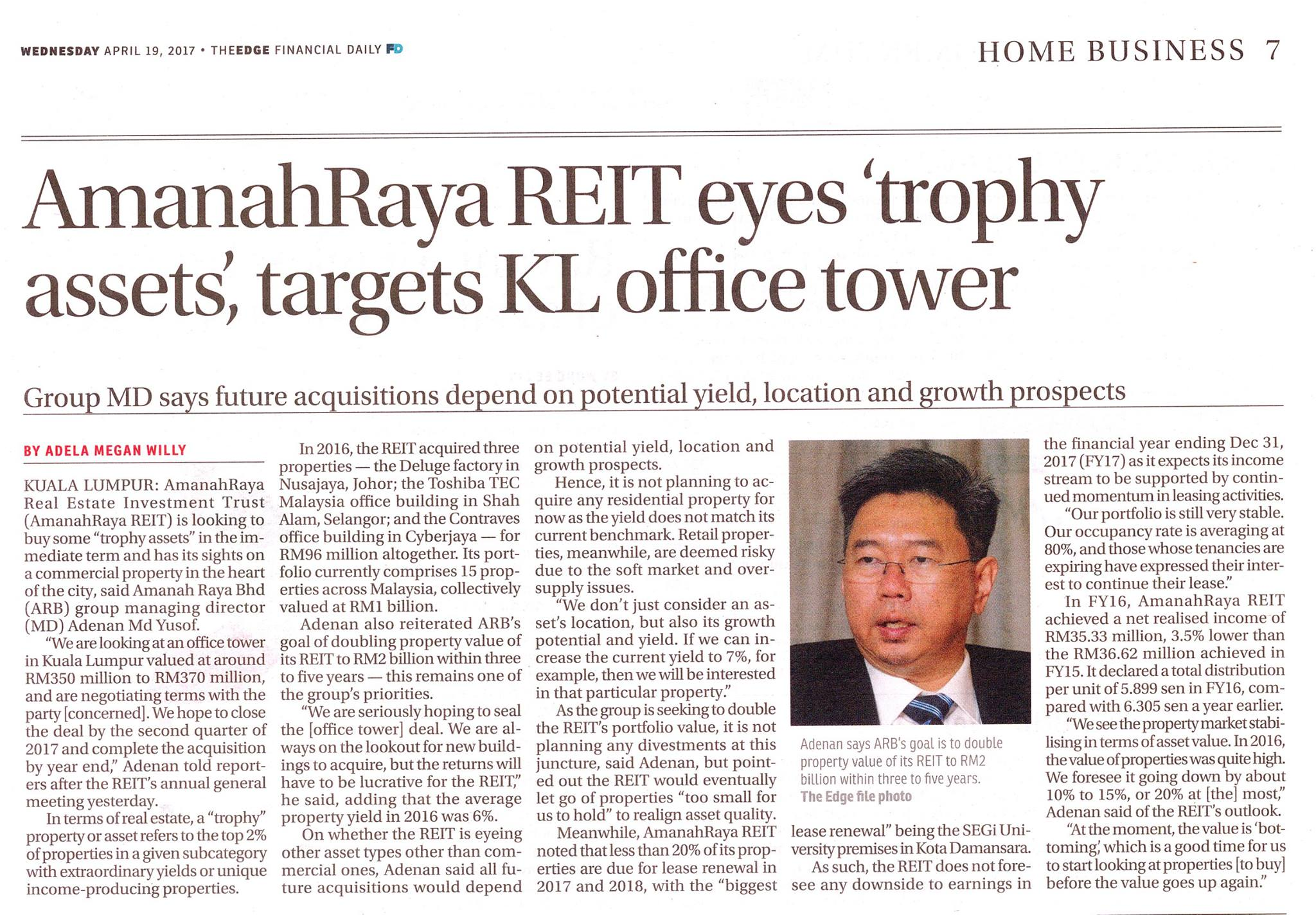 "AmanahRaya Real Estate Investment Trust (AmanahRaya REIT) is looking to buy some ""trophy assets"" in the immediate term and has its sights on a commercial property in the heart of the city, said Amanah Raya Bhd (ARB) group managing director (MD) Adenan Md Yusof."