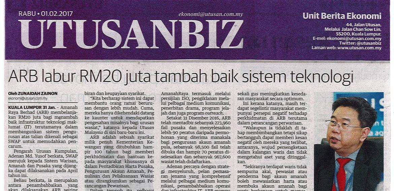 Amanah Raya Berhad (ARB) membelanjakan RM20 juta bagi menambahbaik infrastruktur teknologi maklumat (IT) terutamanya dalam membangunkan sistem pengurusan atas talian dikenali sebagai SWAP untuk memudahkan pencarum.