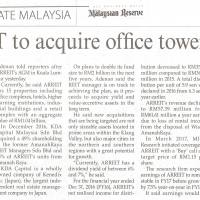 ARREIT to acquire office tower in KL