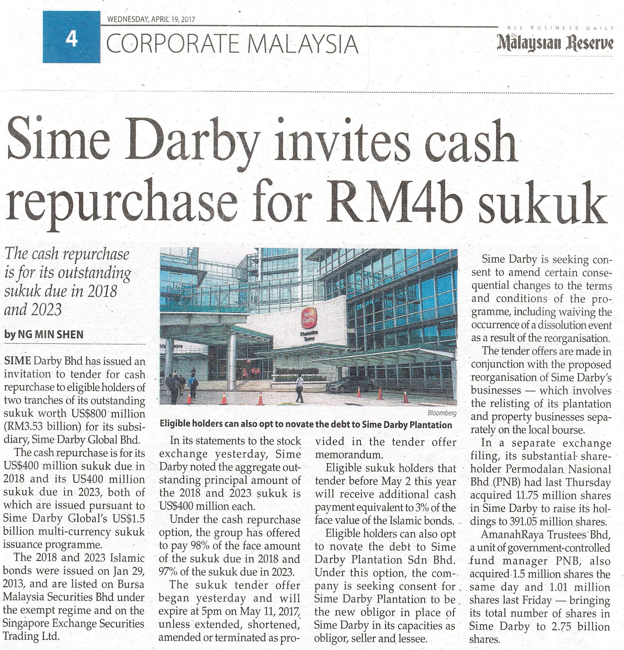 Sime Darby Bhd has issued an invitation to tender for cash repurchase to eligible holders of two tranches of its outstanding sukuk worth US$800 million for its subsidiariy, Sime Darby Global Bhd.