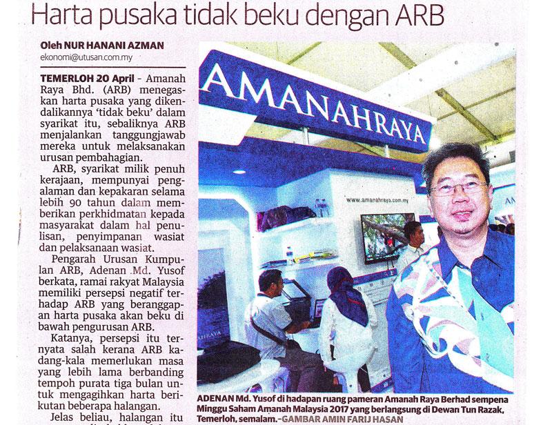 AmanahRaya menegaskan harta pusaka yang dikendalikannya tidak beku dalam syarikat itu, sebaliknya ARB menjalankan tanggungjawab mereka untuk melaksanakan urusan pembahagian.